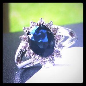 18K White Gold + Blue Sapphire Ring